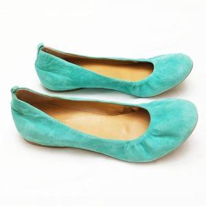 J. Crew | Mint Green Suede Ballet Flats
